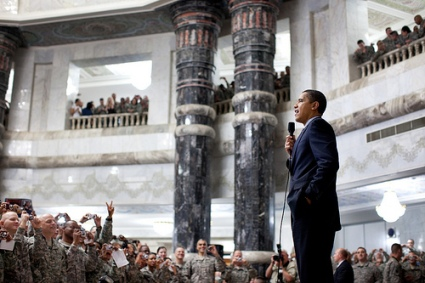 President Barack Obama addresses U.S. troops during his visit to Camp Victory, Baghdad, Iraq 4/7/09. Official White House Photo by Pete Souza. (I assume that's one of Saddam's palaces?!)